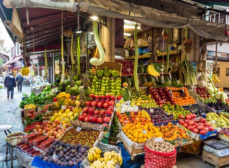 Istanbul. Turkey. Street market with fresh fruits and vegetables