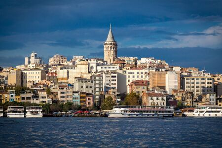 Passenger boats near Karakoy station and cityscape with Galata t