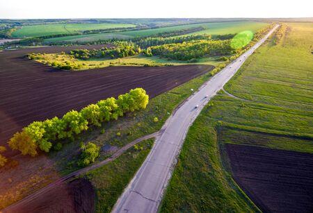 Aerial view to rural spring landscape at sunset, Ukraine