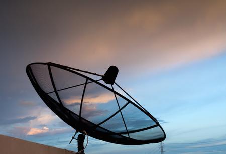 buliding: satellite set on the buliding and sunset Stock Photo