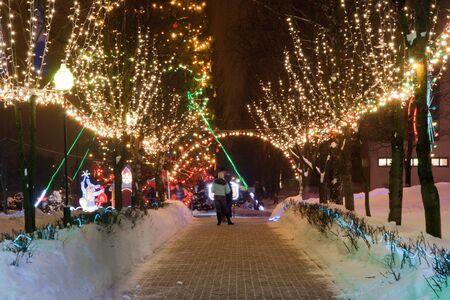 illumination: iluminaci�n de la noche de invierno a lo largo del callej�n