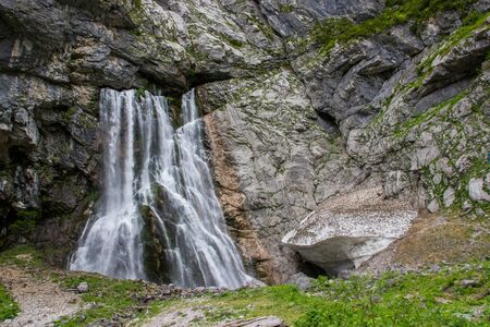 abkhazia: Abkhazia, a beautiful Gegsky waterfall in a mountain gorge.