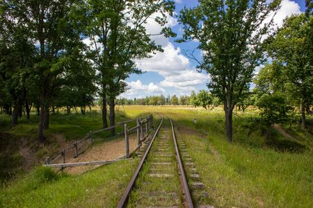 Old railway in the summer forest. Cloudy sky. Stock Photo