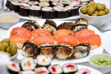 Fresh and delicious sushi and rolls of rice and fresh fish.