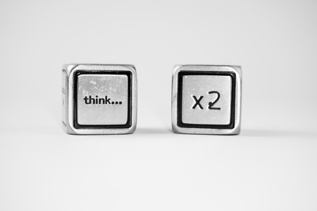 them: Two dices with messages on them Stock Photo