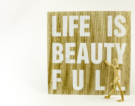 wooden doll: Wooden board with message and wooden doll Stock Photo