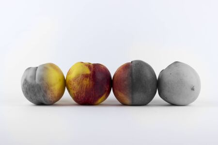 four in one: Four peaches on a white background, one coloured and the rest desaturated