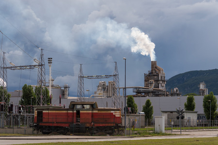 isolators: industrial scenes: with train and stormy sky