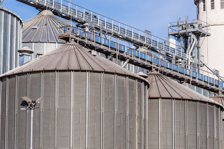 production facility: Storage facility cereals and production of biogas; silos and drying towers Stock Photo