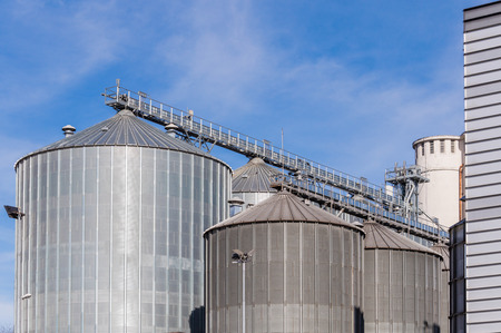 storage facility: Storage facility cereals and production of biogas; silos and drying towers Stock Photo