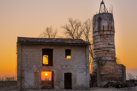 brick kiln: Abandoned brick kiln, at sunset