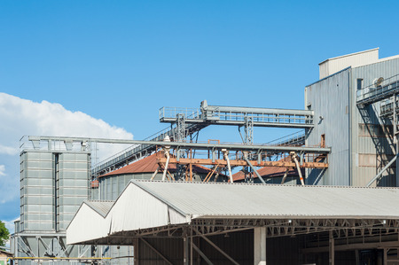 storage facility: Storage facility cereals and production of bio gas,silos and drying towers Stock Photo