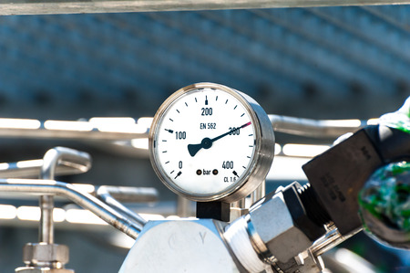 Pressure gauge to measure pressure in the system. High pressure gas