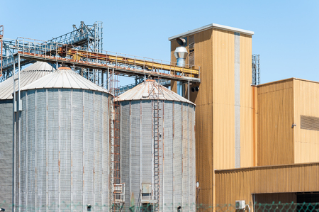 storage facility: Storage facility cereals , silos and drying towers Stock Photo