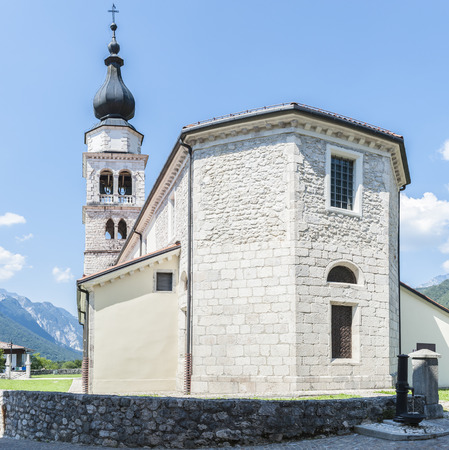 17th century: Outside the apse and bell tower of a church in the 17th century in Northern Italy