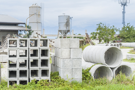 drains: Various types of precast concrete for wells and drains in storage