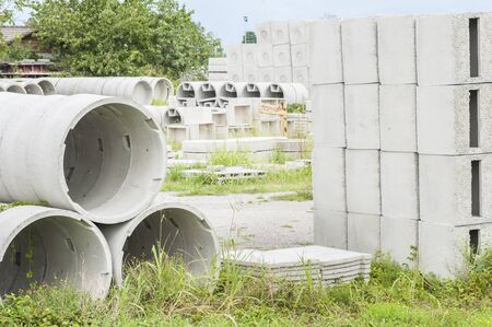 precast: Various types of precast concrete for wells and drains in storage