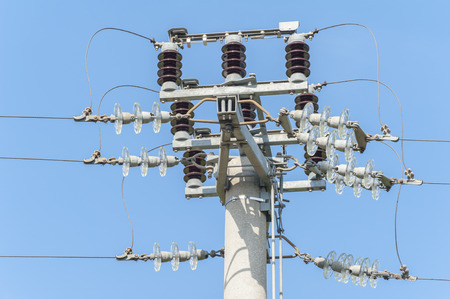 isolator switch: Power isolator switch manual on electrical pylon against the blue sky