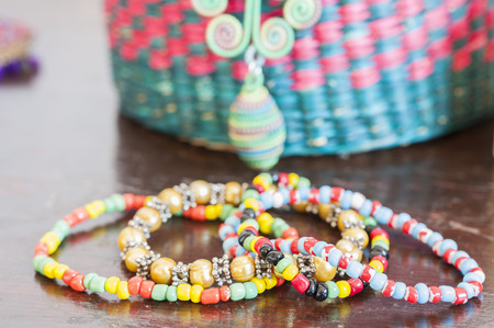 Various bracelets colorful plastic beads. Costume jewelry for  woman 免版税图像