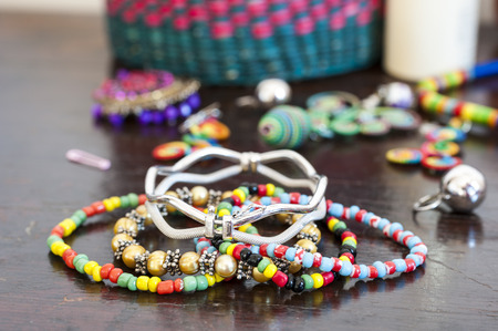 bead jewelry: Various bracelets colorful plastic beads. Costume jewelry for  woman Stock Photo
