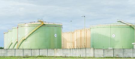 storage tanks: Industrial Storage Tanks. Oil tanks in two lines Stock Photo