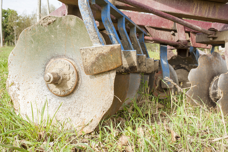 agriculture machinery: Tool for agriculture:       Part of the agricultural disc harrow machinery Stock Photo