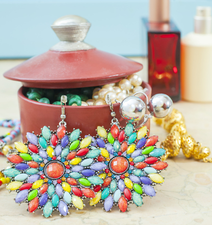 costume jewelry: Beaded earrings colored plastic. Costume jewelry for women.