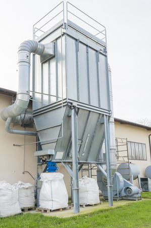 filtration: Industrial air filtration system with paint color waste recovery. Stock Photo