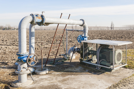irrigation equipment: System for pumping irrigation water for agriculture Stock Photo