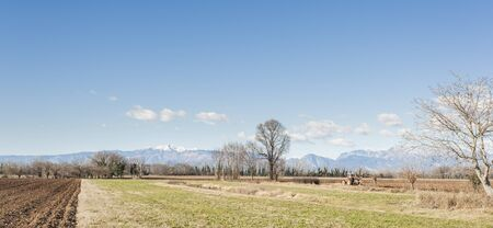plough land: Agricultural landscape. With tractor plowing a field. The mountains in the background.