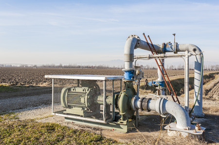 irrigating: System for pumping irrigation water for agriculture Stock Photo