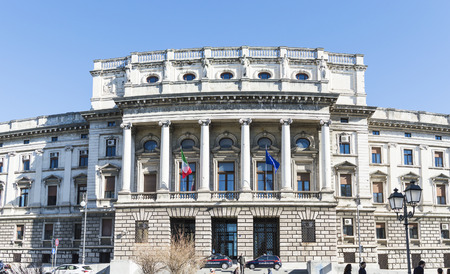 tribunal: Trieste, Italy - February 5, 2016: the façade of the Tribunal of the city of Trieste.