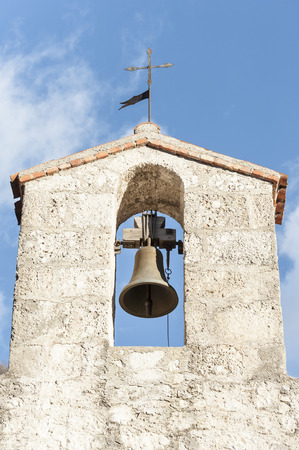 15th century: Small bell tower with a bell of a country church in the 15th century