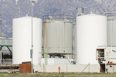 Silos of chemical plant Stock Photo
