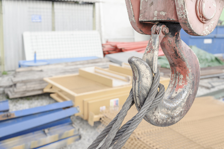 hook up: A close up of the hook on a crane.