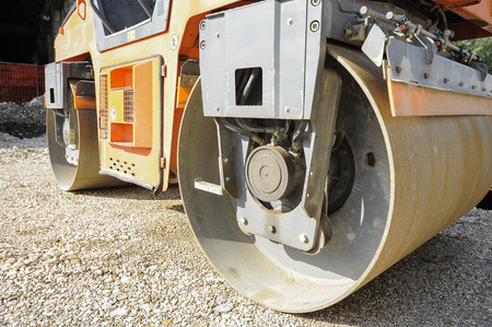compactor: Light Vibration roller compactor at road construction and repairing asphalt pavement works