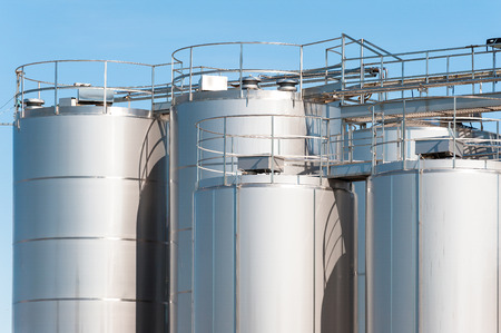 steel  milk: Stainless steel silos . For a milk processing plant.