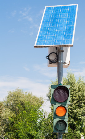 voltaic: Road traffic light powered by electricity generated from a solar panel