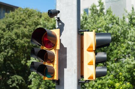 impaired: Traffic light with buzzer for walkway of the blind Stock Photo