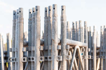 holdfast: Close up of  stack of construction scaffolding elements Stock Photo