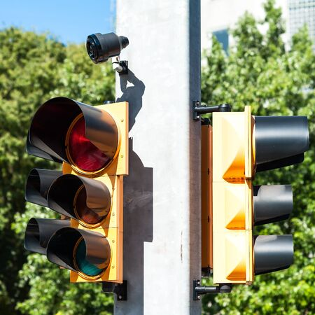 buzzer: Traffic light with buzzer for walkway of the blind. Stock Photo