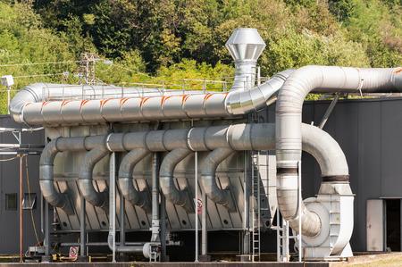 filtración: ventilación industrial y sistema de filtración Foto de archivo
