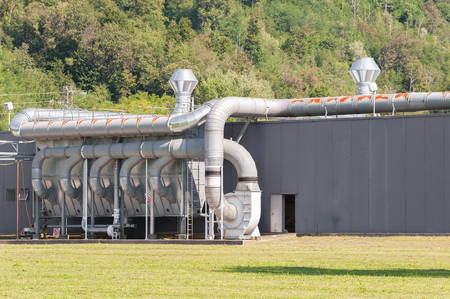 filtration: Industrial plant air ventilation. Air filtration system.