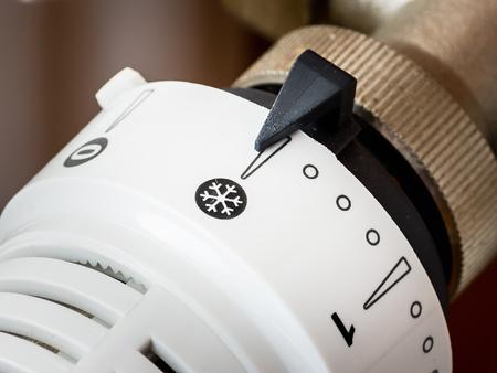 Closeup of a valve radiator thermostat white