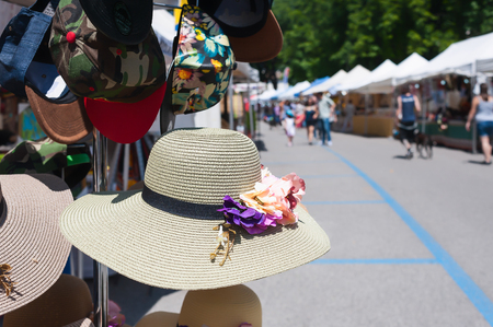 Womens summer hats and scarves at the street market