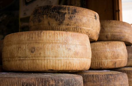 Handmade local cheese assortment, on a fair of traditional products Stock Photo