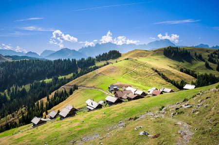 Mountain landscape. Small village on mountains. Zdjęcie Seryjne