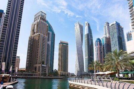 Dubai Marina in a summer day, UAE