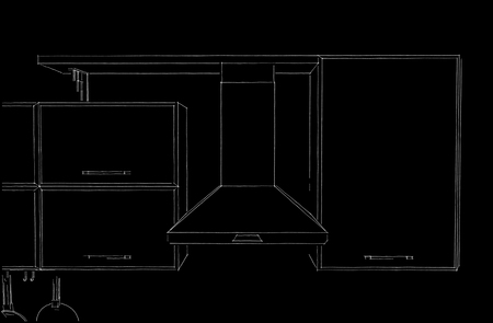 Kitchen hood with cabinets and shelf outline sketch. White pencil lines on black background. Front view.