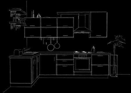 contemporary kitchen: Contemporary corner kitchen sketchy 3d illustration. White lines on black background.